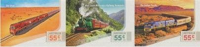 AUS SG3389-91 Great Australian Railway Journeys self-adhesive set of 3 from booklet (exSB348)
